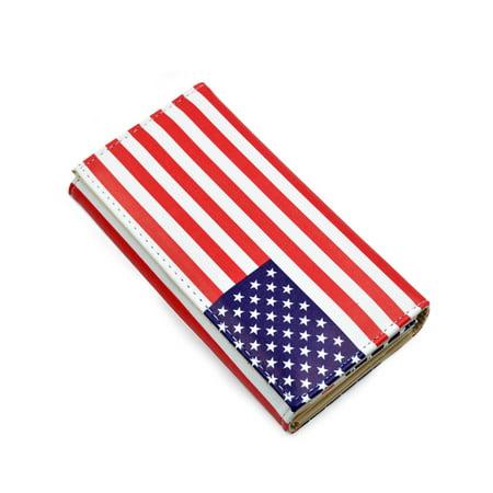 Premium US UK Flag City Print PU Leather Continental Wallet, US Flag 5 City Wallet
