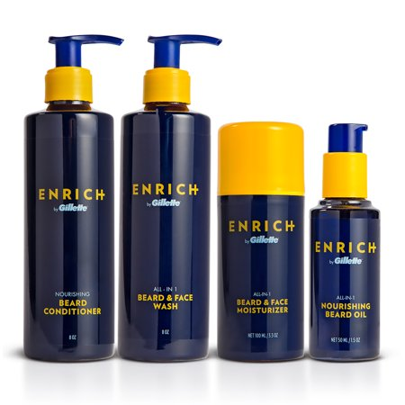 Gillette Enrich Beard & Face Care Starter Kit for Men - Beard Wash, Conditioner, Moisturizer, and (Best Way To Moisturize Beard)