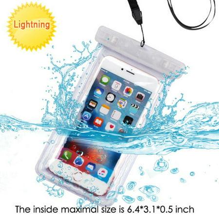 Transparent Vinyl Lanyard - Universal Waterproof Phone Case by MyBat Universal Transparent Lightning Waterproof Bag Phone Case with Lanyard - Clear