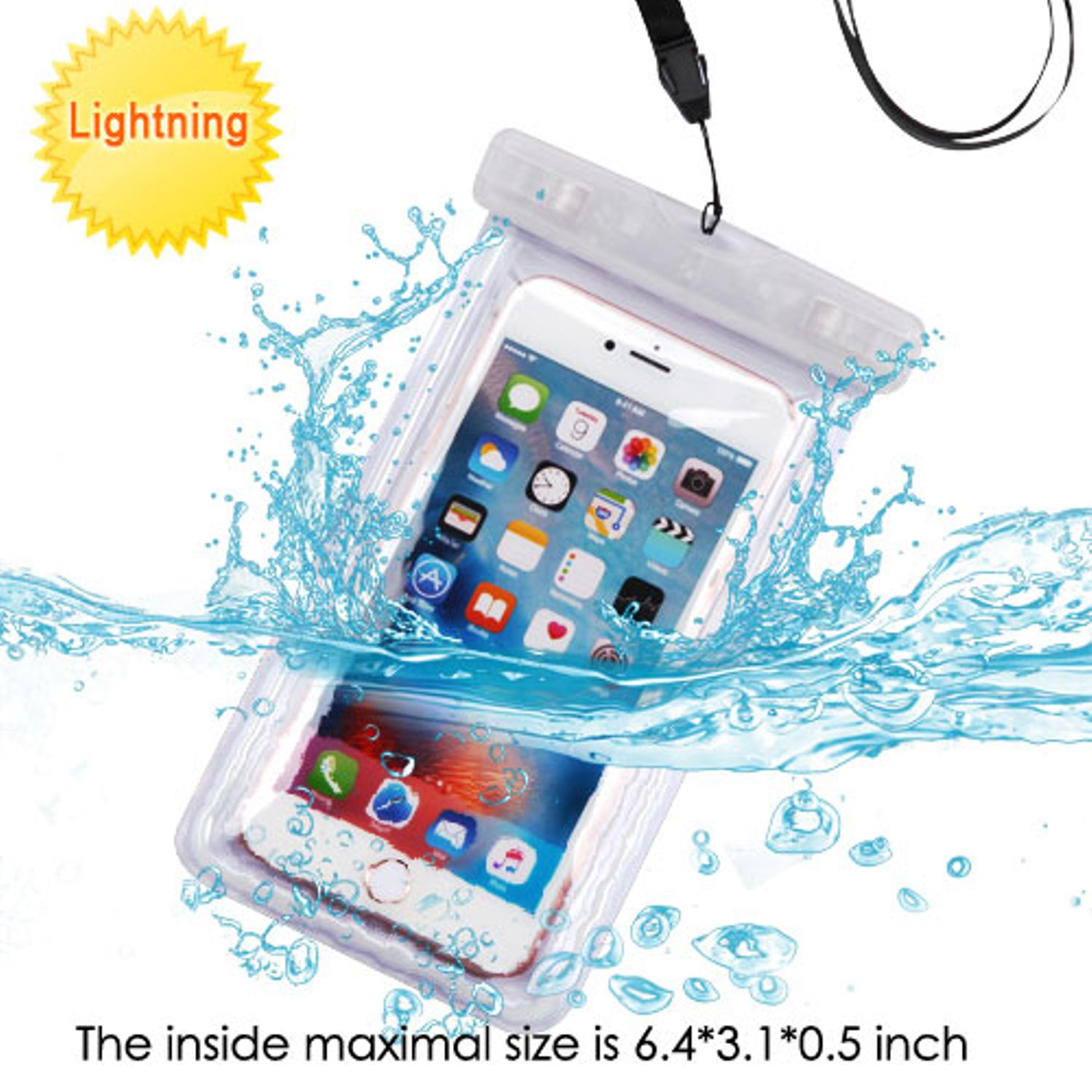 Universal Waterproof Phone Case by MyBat Universal Transparent Lightning Waterproof Bag Phone Case with Lanyard For iPhone 8 7 6s Plus 5s SE X Samsung S9 S8 S7 J7 - Clear