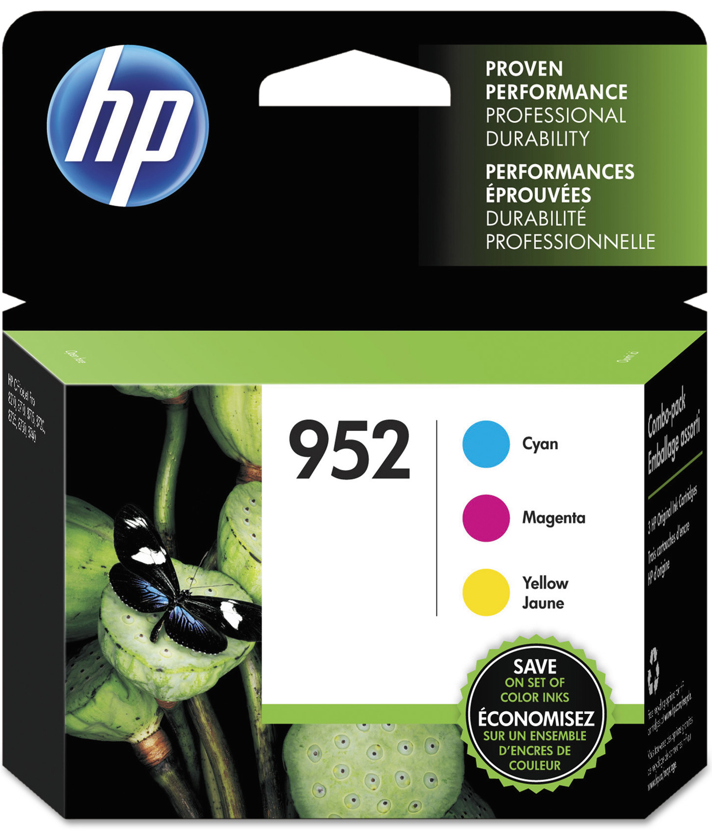 HP 952 Cyan, Magenta & Yellow ink cartridges, 3-pack (N9K27AN) by HP