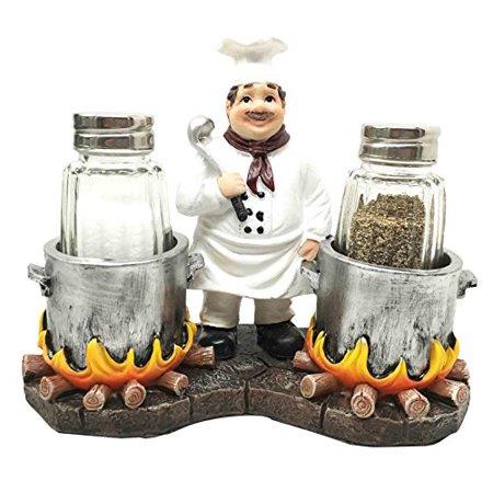 Chef Alton Double Cauldron Stew Soup Specialist Salt Pepper Shaker Holder Figurine Stand For Kitchen Hosting Cook Hobbyist (Pepper Shaker Holder)