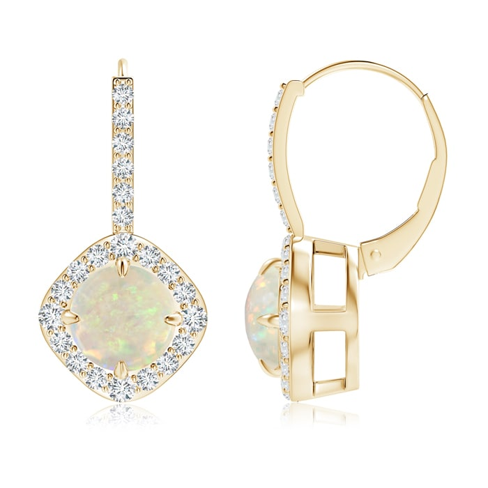 Mother's Day Jewelry 7mm Opal Claw Set Diamond Halo Opal Leverback Earrings in 14K Yellow Gold SE1042OPD-YG-AAA-7 by Angara.com