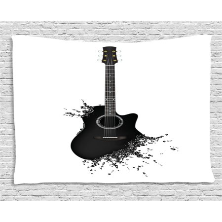 - Guitar Tapestry, Monochrome Musical Instrument with Strings Acoustic Color Splashes Creative Outlet, Wall Hanging for Bedroom Living Room Dorm Decor, 60W X 40L Inches, Black White, by Ambesonne