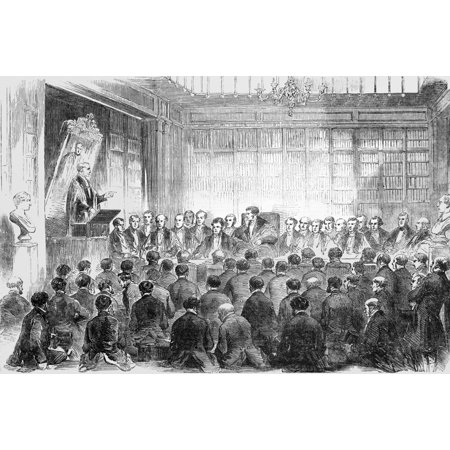 College Party Pics (The Illustrated London News Etching From 1854. Dr Alderson Delivering The Harveian Oration In The Theatre Of The Royal College Of Physicians Poster Print by John Short / Design)
