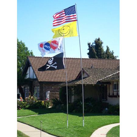 22' Fiberglass Heavy Duty Telescoping Flag Pole w/ Ground Mount