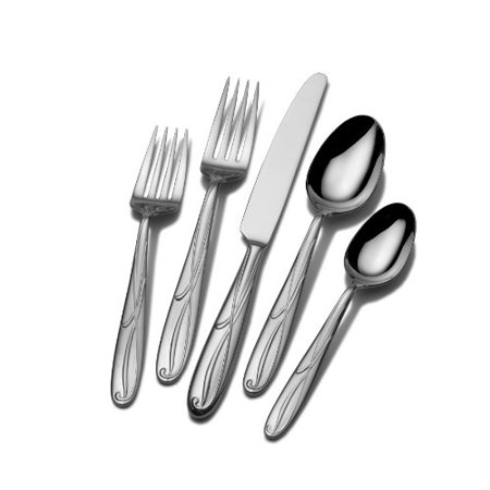 Mikasa Cocoa Blossom 65-Piece Stainless Steel Flatware Set with Serveware, Service for