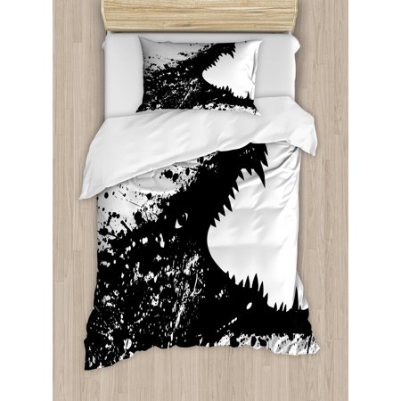 (Safari Twin Size Duvet Cover Set, Black and White Crocodile Image with Grunge Drawing Style Attacking River Warrior, Decorative 2 Piece Bedding Set with 1 Pillow Sham, Black White, by Ambesonne)