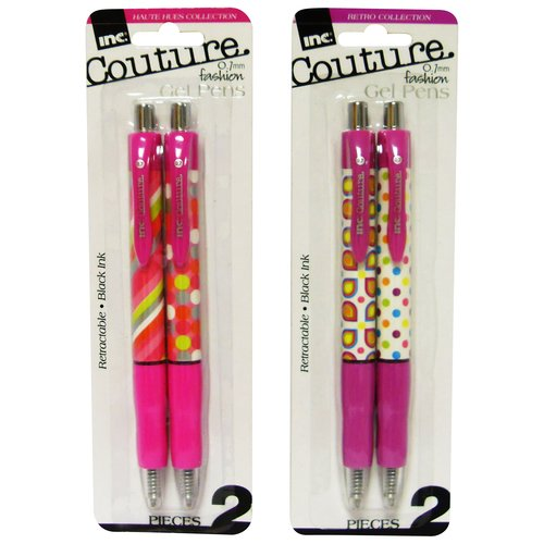 Inc Couture Retractable Gel Pens, 2pk