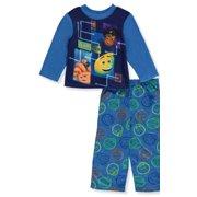 Emoji Boys' Pajama Fleece Long Sleeve Shirt and Lounge Pants Sleepwear Set, Digital Blues, Size: 6