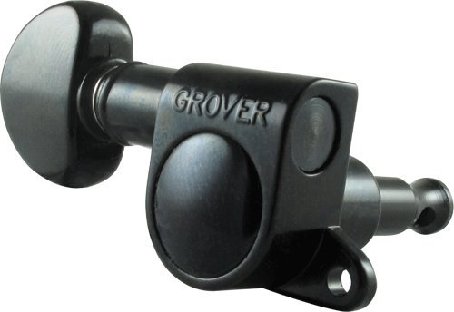 Grover Mini Rotomatics Left Hand Guitar Machine Heads, 6-In-Line, Black, 205BCL6 by Grover