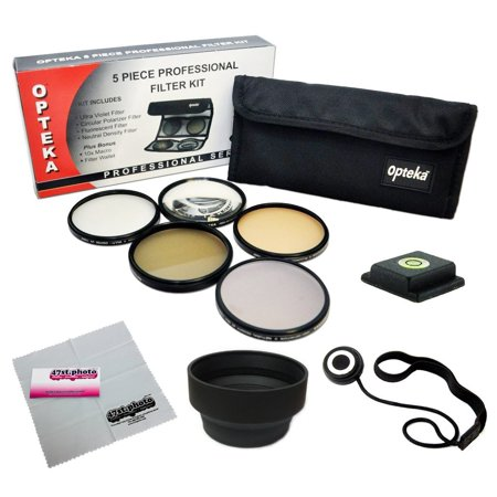 58MM Accessory Kit for CANON EOS Rebel T5i, T4i, T3i, T3, T2i, T1i, XT, XTi, XSi SL1 DSLR Cameras with Opteka 5 PC Filter Kit, Carry Pouch, Lens Hood, Cap Keeper Leash, Bubble Level, Cleaning Cloth