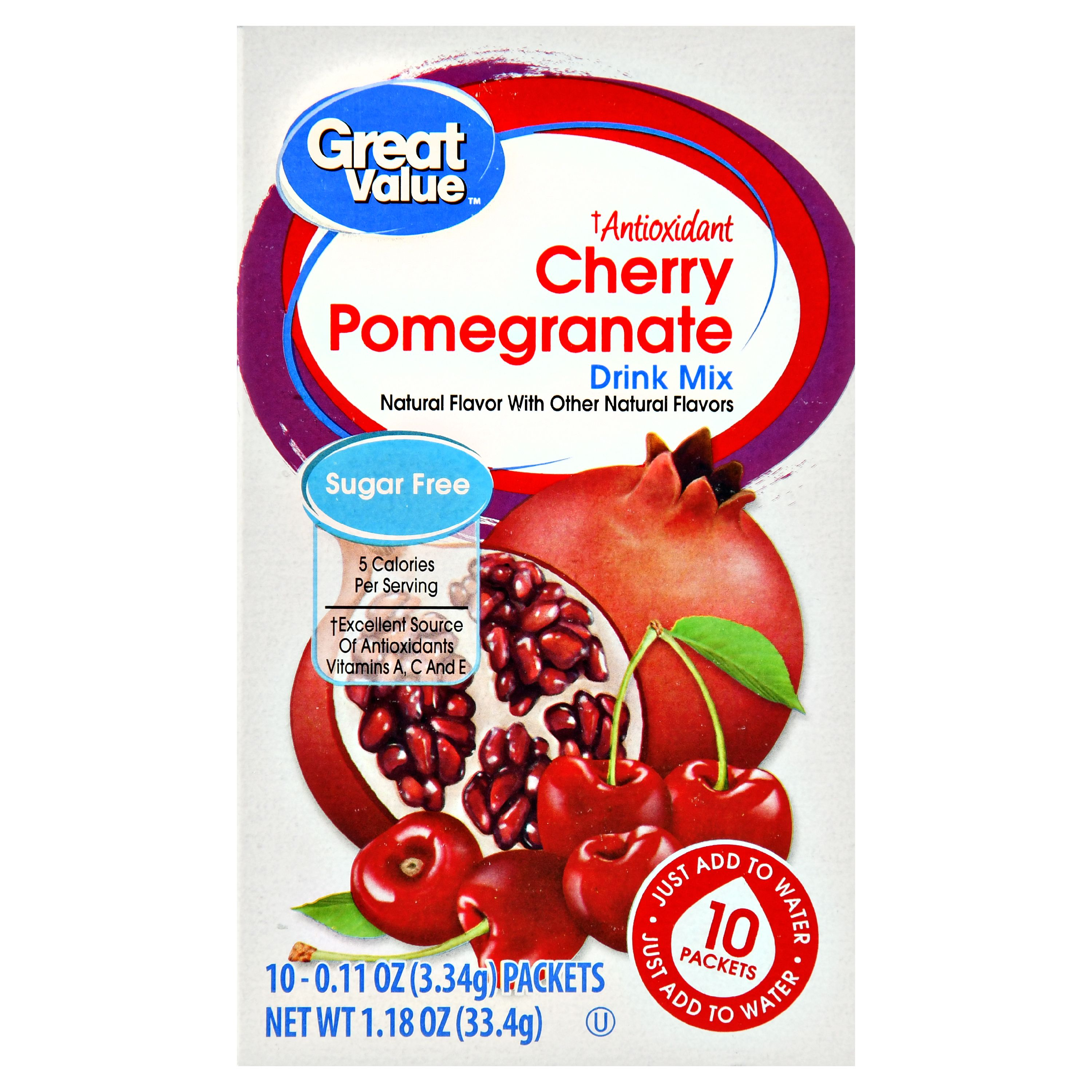 (4 Pack) Great Value Antioxidant Drink Mix, Cherry