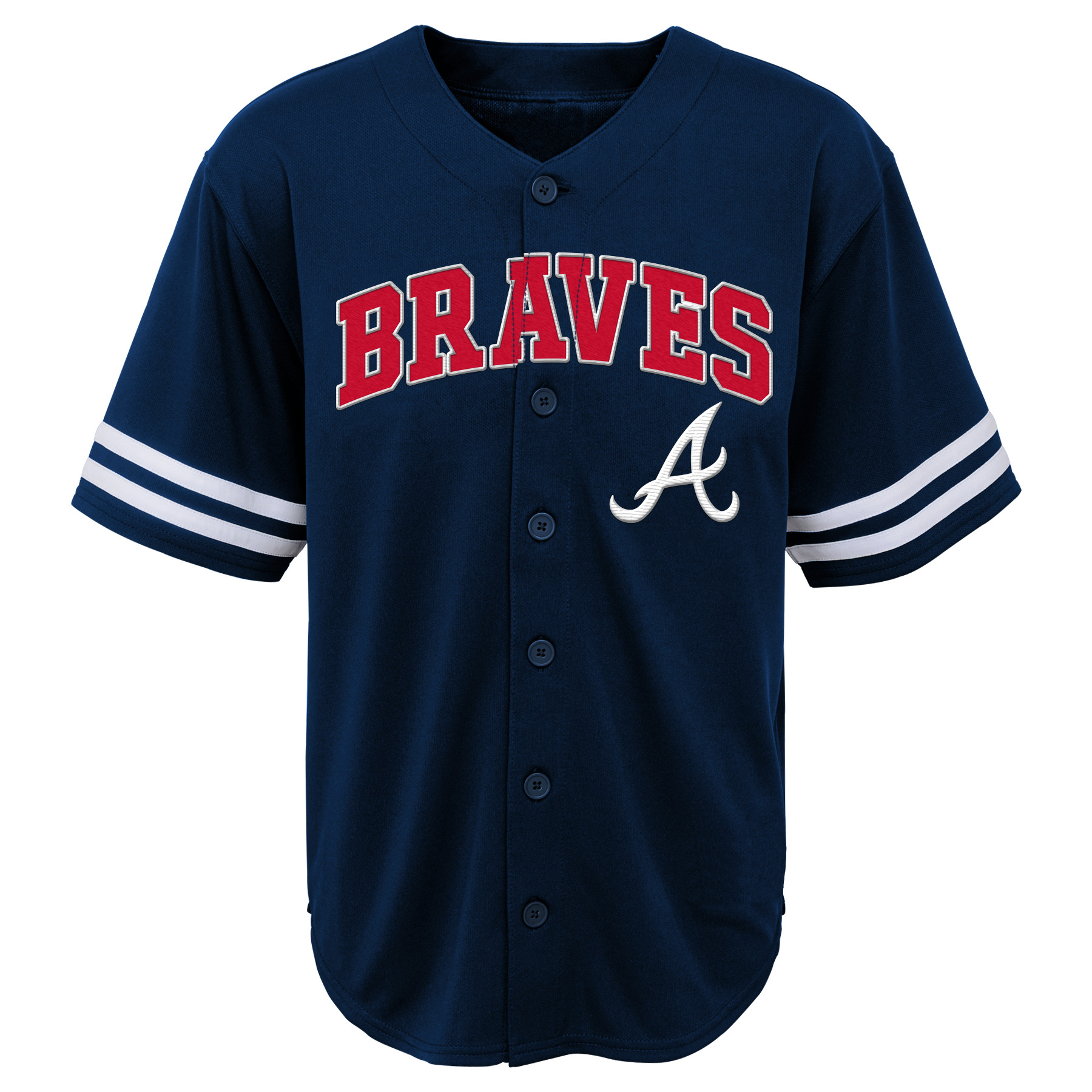MLB Atlanta Braves TEE Short Sleeve Boys Fashion Jersey Tee 60% Cotton 40% Polyester BLACK Team Tee 4-18