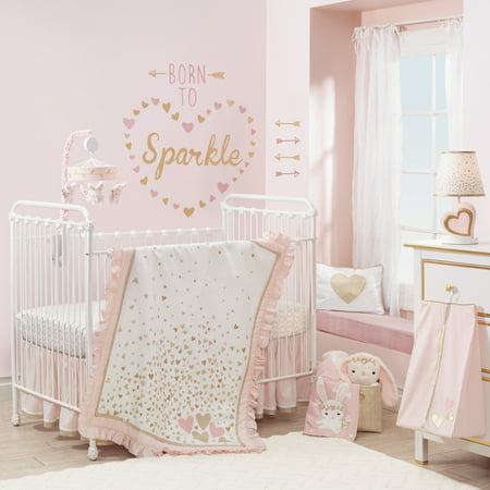 Lambs & Ivy Confetti 4-Piece Crib Bedding Set - Pink, Gold, White, Love,