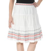 TOMMY HILFIGER Womens White Embroidered Knee Length Skirt  Size: S