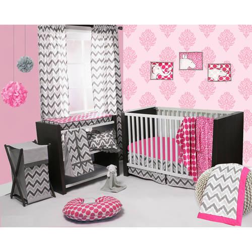 Bacati Ikat 3-Piece Crib Bedding Set, Pink/Grey with BONUS Blanket