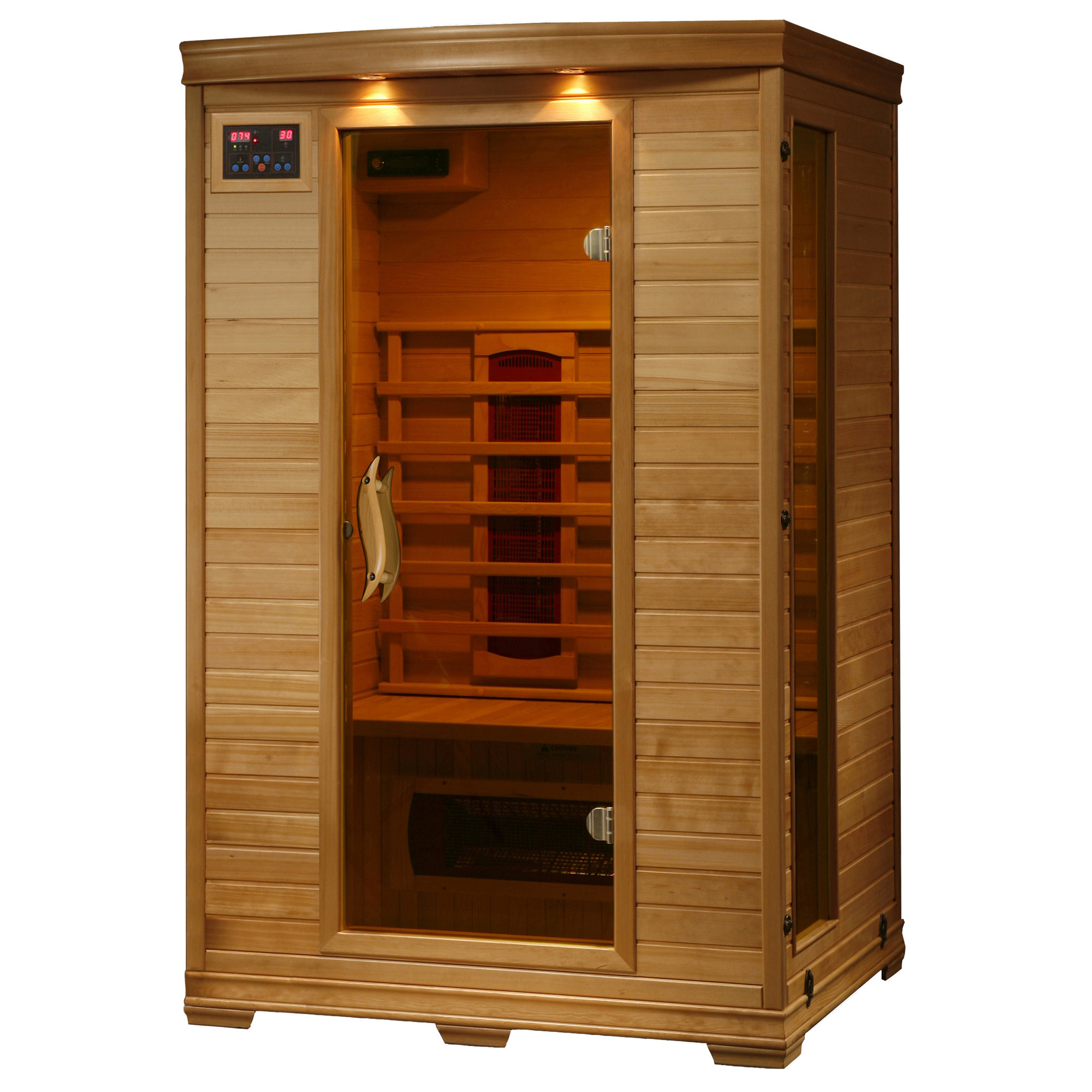 Radiant Saunas Radiant Saunas FAR Infrared 2-Person Hemlock Sauna Room with 5 Heaters, Chromotherapy Lighting, Air Purifier, and Audio System