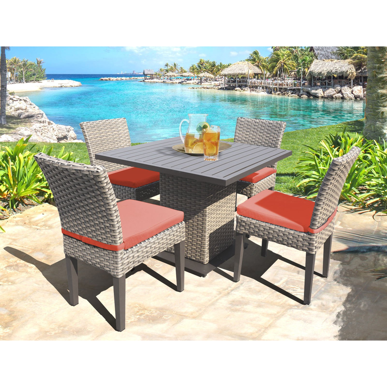 TK Classics Oasis Wicker 5 Piece Outdoor Square Dining Table with Armless Chairs Set