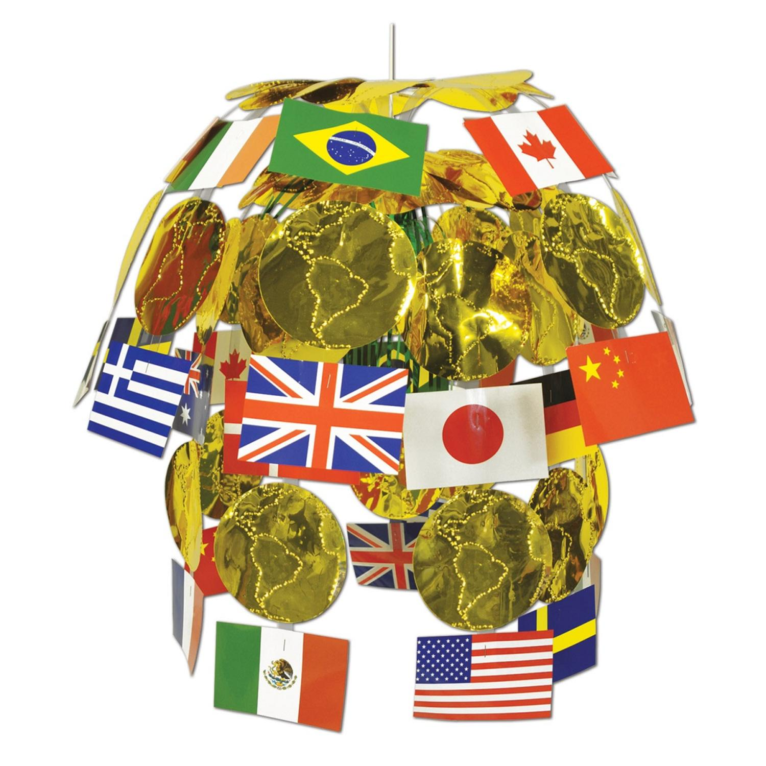 Club Pack of 12 International Flag and Metallic Gold Map ...