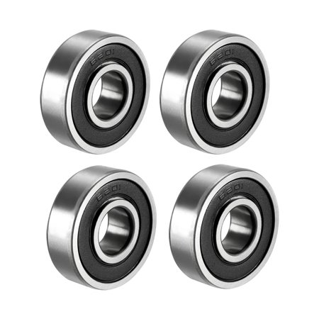 Deep Groove Ball Bearing 6201RS Double Sealed, 12mmx32mmx10mm Carbon Steel (Carbon Seal)