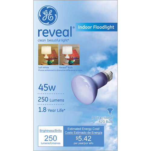 GE Indoor Reflector Reveal Bulb, 45W, R20