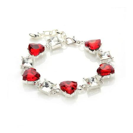 Red Heart Bracelet (Novadab Red Heart Gem Tennis Bracelet, Silver Plated Red Bracelet  6.5 )