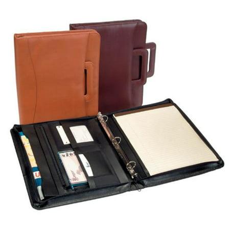 Royce Leather 301-BLACK-8 Zip Around Binder Padfolio - Black