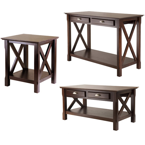 Xola 3 Piece Coffee, Console U0026 End Table Value Bundle, Cappucino    Walmart.com