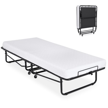 Best Choice Products Folding Rollaway Cot-Sized Mattress Guest Bed w/ 3in Memory Foam, Locking Wheels, Steel Frame, Black Folding Rollaway Bed Frame