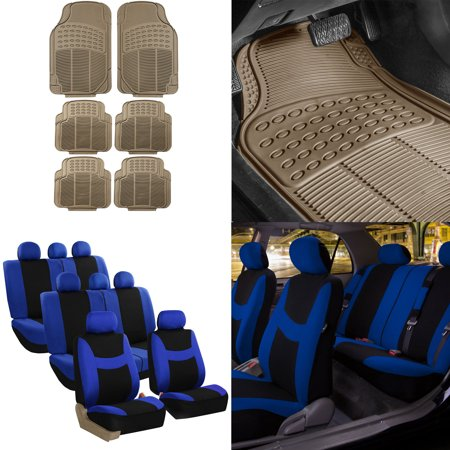 8 Weathered Seat (FH Group, 3 Row 8 Seaters Blue Seat Covers Combo w/ Beige All Weather Floor Mats Set )