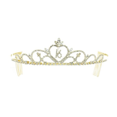 Kate Marie 'Kim' Sweet 16 Rhinestones Crown Tiara Headband with Hair Combs in - Sweet 16 Headband