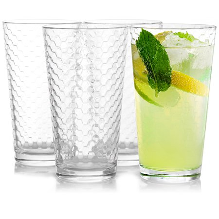 4-Piece 16.75 oz Cooler Glass Set, Clear