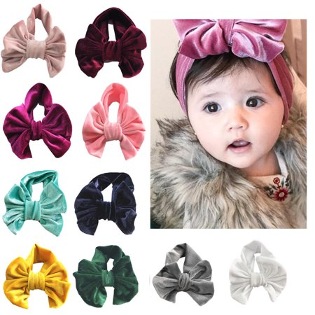 Velvet Turban - Iuhan 10PCSBoutique Velvet Stretch Bow Ear Turban Infant Headbans Baby Girls Headbands