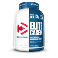 Dymatize Elite 100% Micellar Casein, Slower Absorbing, Smooth Vanilla, 25g Protein/Serving, 4 Lb