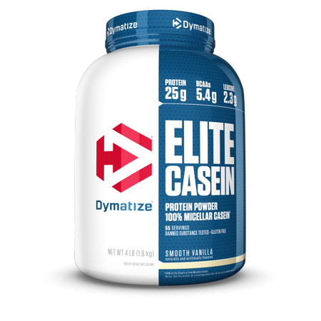 Dymatize Elite 100% Micellar Casein, Slower Absorbing, Smooth Vanilla, 25g Protein/Serving, 4