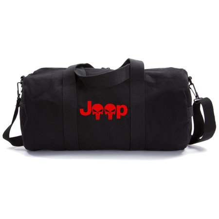 Jeep Wrangler Renegade Cherokee Punisher Skull Military Duffle Bag Gym