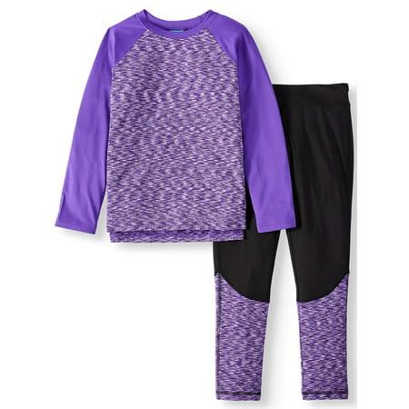 Rainbeau Space Dye Long Sleeve & Fleece Performance Legging 2 Piece Active Set (Big Girls & Little Girls) by Rainbeau Curves