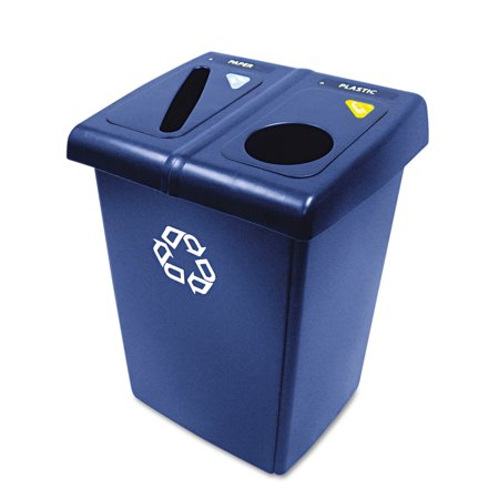 Rubbermaid Commercial Glutton Recycling Station, Two-Stream, 46 gal, - Rubbermaid Glutton Recycling Station