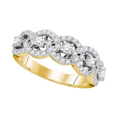 14kt Yellow Gold Womens Round Pave-set Diamond Linked Circle Band 1.00 Cttw