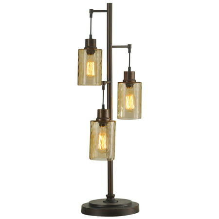 Table Lamp - Bronze Finish - Clear Dimpled Glass Shade