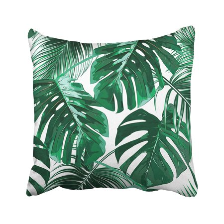 Palm Tree Pattern - ARTJIA Green Leaf Tropical Palm Leaves Jungle Floral Pattern White Tropic Tree Plant Summer Pillowcase Pillow Cushion Cover 16x16 inches