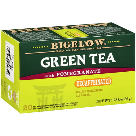 (4 Pack) Bigelow, Green Tea with Pomegranate Decaf, Tea Bags, 20 Ct ()