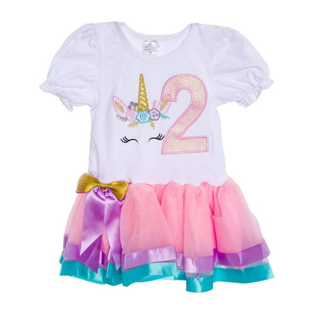 Silver Lilly Girls Pretty Unicorn Birthday Dress Outfit w/ Rainbow Tutu