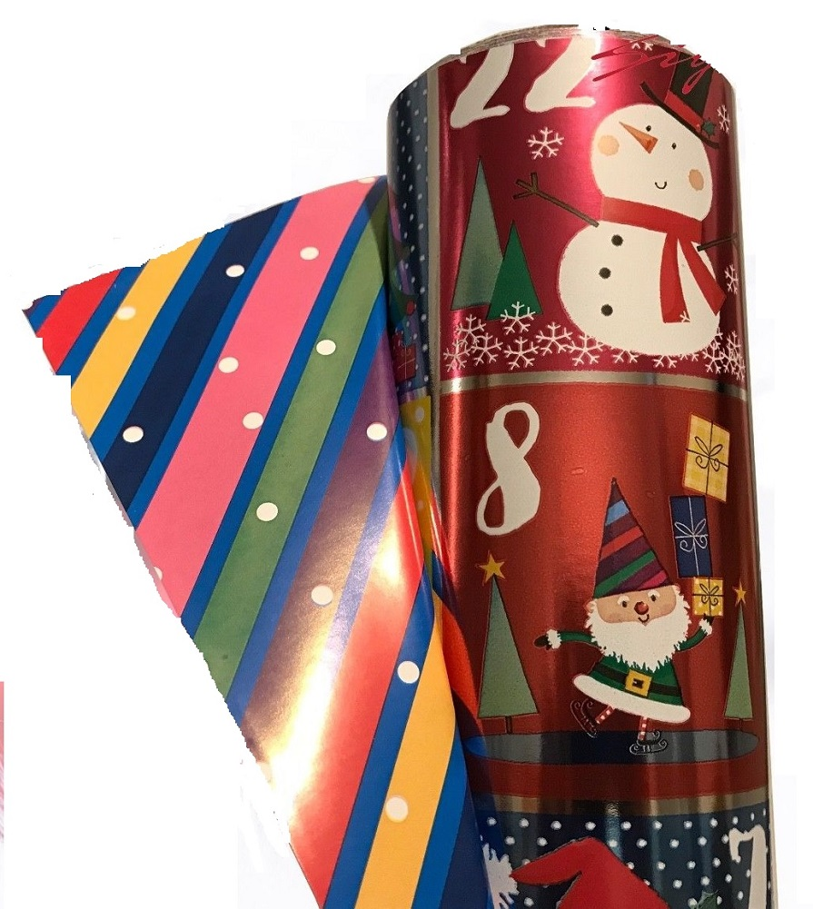 Double Sided Christmas Wrap Foil Christmas Countdown/Paper Stripes 269 sq ft