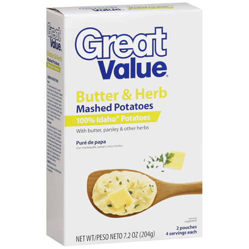 Great Value: Butter & Herb Mashed Potatoes, 7.2 Oz