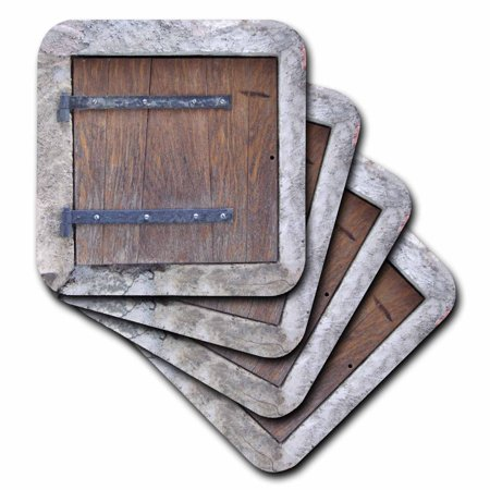 3dRose Wooden medieval style trap door photo print - offbeat humor - unusual bizarre humorous fun funny, Ceramic Tile Coasters, set of - Photo Coaster