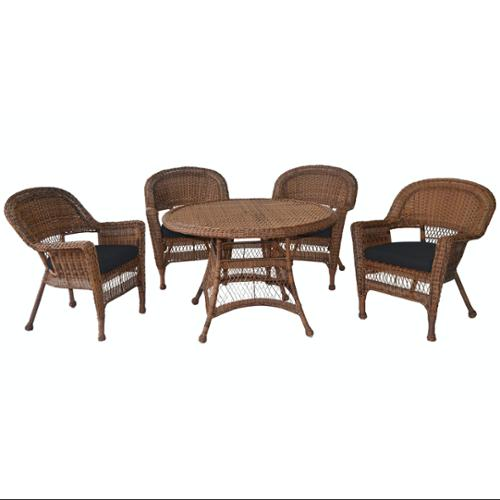 5-Piece Honey Resin Wicker Chair & Table Patio Dining Furniture Set Black Cushions by CC Outdoor Living