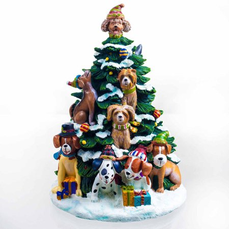 San Francisco Music Box Factory Holiday Dogs Lighted Tree Figurine Multi-Colored