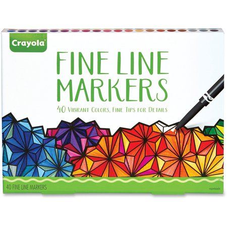 Crayola 40 Count Adult Coloring Fineline Markers  40 Colors